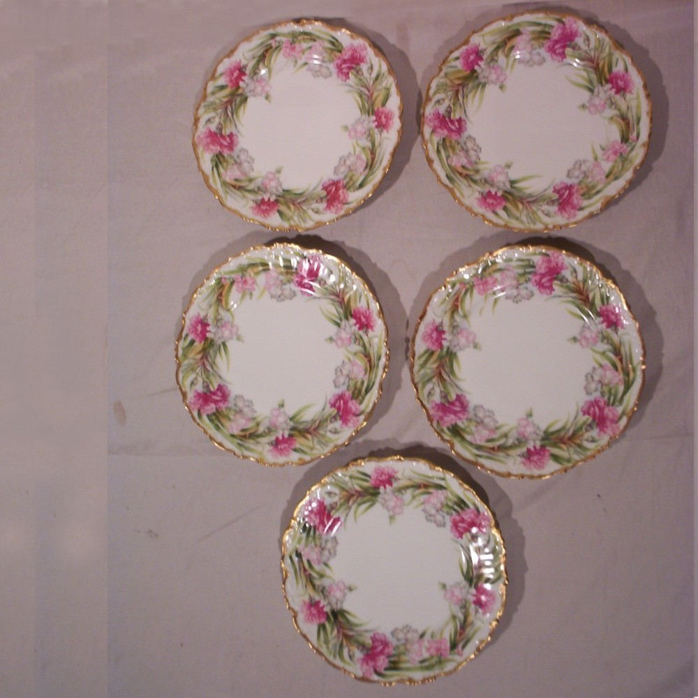 Vintage Limoges Plates Set of 5 Hand Painted Carnations