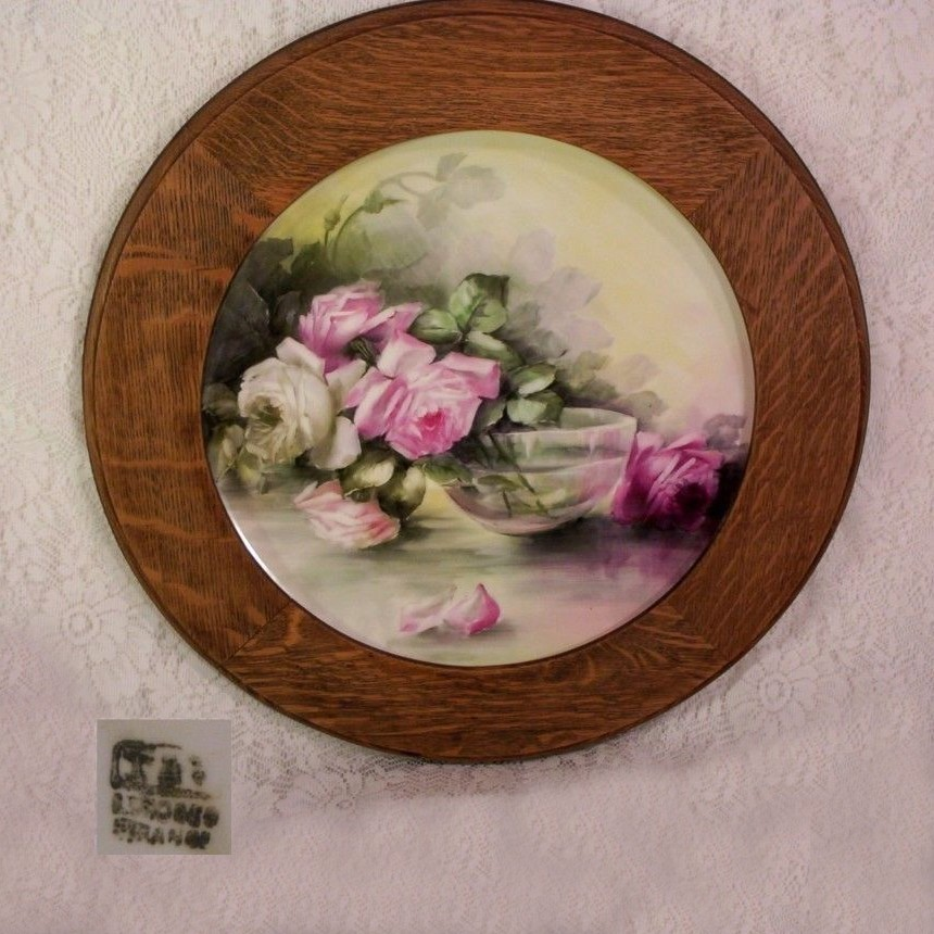 T&V Limoges Plaque Charger Hand Painted Roses in Oak Frame