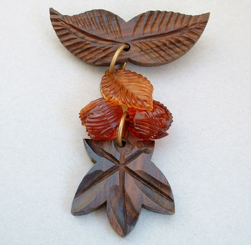 FABULOUS Carved Vintage WOOD Brooch Dangly Vintage Plastic Beads c.1940's, SALE, Free Shipping!
