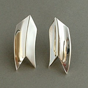 SALE TAXCO Mexican Vintage SILVER Earrings Modernist DESIGNER Signed!