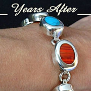 SALE CHUNKY Gemstone VINTAGE Mexican Silver Bracelet Locking Box Clasp - HEFTY 31.3 Grams c. 1