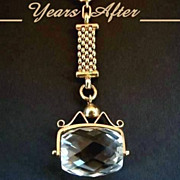 SOLD Victorian Watch Fob Chain NECKLACE Rock Crystal SPINNER Fob Charm - Complete c.1880 - 189