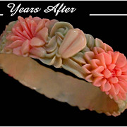 SOLD Vintage CELLULOID Bangle BRACELET Rose, Japanese Orchid, Mum, Tulip, Lily Flowers & Leave
