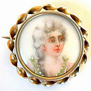 SALE Antique VICTORIAN Brooch Portrait Miniature PAINTING of LADY c.1870's