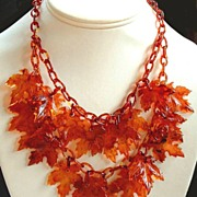 SOLD EXOTIC Vintage LUCITE Necklace Bib Translucent Double Tier AUTUMN Leaves  c.1930's!