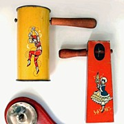 SALE RARE Art Deco Tin Litho NOISEMAKER Party Noise Makers Early T. Cohn, WOOD Handles ...