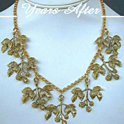 SALE FORTIES Vintage Fruit Necklace Bib RASPBERRY Leaf Berries Dangles ALL Original c.1940's!