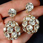 SALE Vintage DESIGNER Signed VOGUE Rhinestone Earrings Drops LARGE & CLEAR - Pristine c.1950's