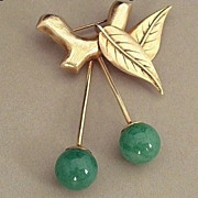 SALE SIGNED Vintage CHERRY Brooch Jadeite Cherries Vermeil STERLING Setting Hallmarked c.1940'