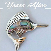 SALE Vintage Sterling Silver TAXCO Mexican Brooch Signed EAGLE Mark, Mother of Pearl Shell c.1