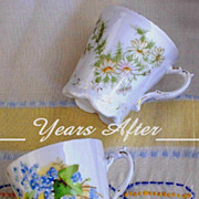 SALE Antique VICTORIAN Teacups Chocolate Cup Mug Porcelain CHINA Tableware Flower Motif (2) c.