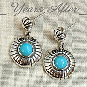 SALE SIGNED Vintage Sterling Silver Turquoise Earrings by RELIOS - MINT!
