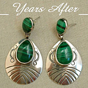 SALE SIGNED BEGAY Vintage NATIVE American Earrings Navajo Sterling Silver Malachite Gemstone S
