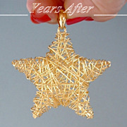 SALE VINTAGE 18k Gold Vermeil Sterling Modernist PENDANT Starfish Star Wire Wrapped Design ITA