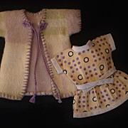 "SALE Vintage Mignonette DOLL Clothing American Indian Wool Navajo Blanket COAT Feed Sack DRESS 7""- 8"" Miniature Dolls c.1920's!"