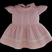 SALE VINTAGE Doll Clothing PINK Dress Lace Trim Peter Pan Collar MEDIUM Size Dolls c.1940's!