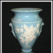"SALE Weller Blue ""Cameo Rose"" Tall Vase"