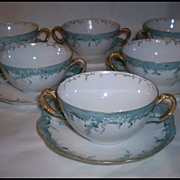 REDUCED Haviland France Set of Six (6) Double Handled Cream Soup Bowls and Liners