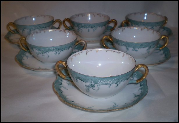 Haviland France Set of Six (6) Double Handled Cream Soup Bowls and Liners