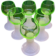 SALE Six German Florescent Green Roemer Wine Goblets