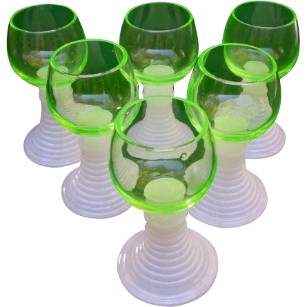 Six German Florescent Green Roemer Wine Goblets