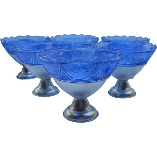 Hazel Atlas Set of (6) Cobalt Blue Royal Lace Sherbets in Metal Holders