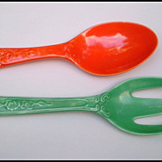 SALE Vintage Fiesta Kitchen Kraft Original Red Spoon & Original Green Fork