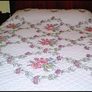 Handmade & Signed &quot;Wild Rose&quot; Cross Stitch Quilt