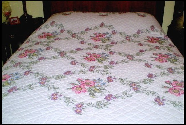 "Handmade & Signed ""Wild Rose"" Cross Stitch Quilt"