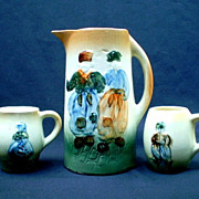 SALE Roseville Holland Pitcher & Two Mugs - Pre 1900