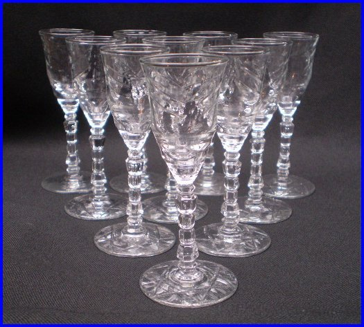 Libbey Rock Sharpe 'Artic Rose' Set of Ten Cordials