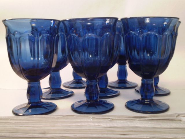 Fostoria Set of (8) Eight Dark Blue Wine Goblets
