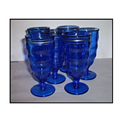 Smith Glass Set of Six (6) Cobalt Blue Goblets