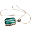 SALE Sterling Silver Necklace Malachite Pendant