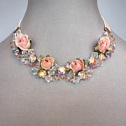 Romantic contemporary gift jewelry design. High end flower necklace.