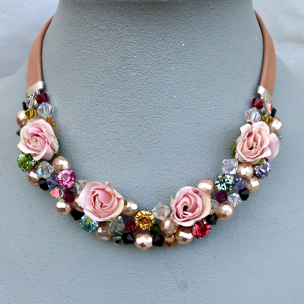 pink fabric roses swarovski bead necklace couture