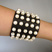 SOLD Leather cuff and pearls bracelet haute couture fashion handcraft jewelry design.