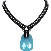 Black leather necklace, bold quartz stone and Swarovski. In vogue jewelry.