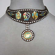 Easy Rider leather choker with rhinestones. Designer jewelry. Cool, rocking.