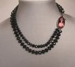 Black beads, image cameo, romantic choker. Fashion jewelry design.