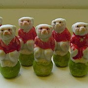 1930s Japan Bisque Miniature Monkeys on Balls ~ 7 in All