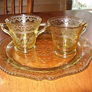 Fostoria Glass (Yellow) Plate, Creamer and Sugar Dish