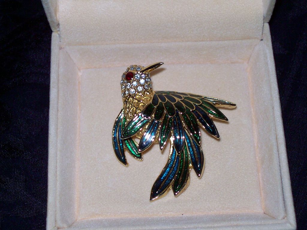 Crystal and Enamel Bird Pin