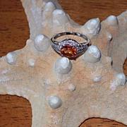 SALE Spessartite Mandarin Garnet and Diamond Ring ~ 14 Karat White Gold