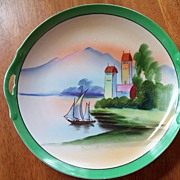 Hand Painted Castle and Sailboat Plate