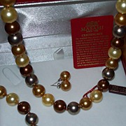 REDUCED Golden Masami Cultured Pearl Necklace, Bracelet and Earring Set