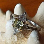 SALE Fancy Canary Yellow Diamond Retro Period Ring