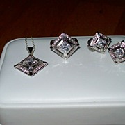 Art  Deco Era Inspired Earrings, Pendant and Ring in Sterling