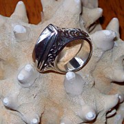 Vintage Lois Hill Scrolled Pyramid Ring in Heavy Sterling