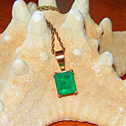 REDUCED Emerald Cut 3.10  Carat Emerald in 14Kt. Yellow Gold with Vintage Gold Filled Chain